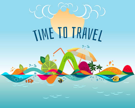 Time to travel - colorful creative banner, summer beach, journey destination, vacation time landscape, vector illustration Stock Illustratie