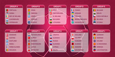Groupes table, draw results, flags of european countries participating to the international world tournament in Qatar, 2022 Europe qualify, vector illustration