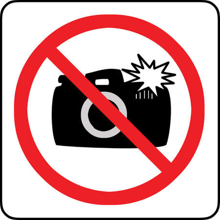 no cameras allowed: No photography with flash allowed sign  Stock Photo