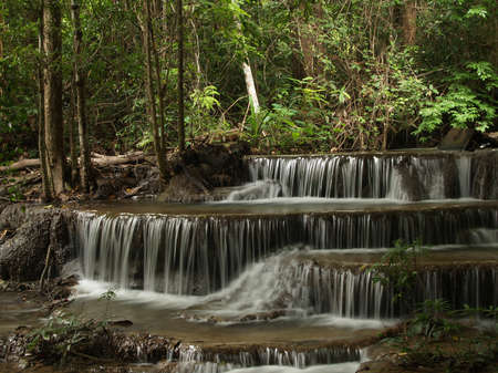 Layer of HuayMaeKhaMin waterfall at national park in Kanchanaburi, Thailand. (2)
