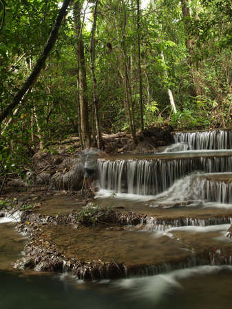 Layer of HuayMaeKhaMin waterfall at national park in Kanchanaburi, Thailand. (1)  photo