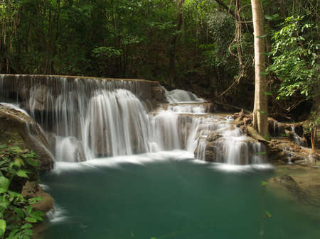 HuayMaeKhaMin waterfall at national park in Kanchanaburi, Thailand. (2)