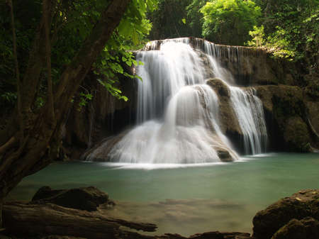 HuayMaeKhaMin waterfall at national park in Kanchanaburi, Thailand. (1)  Stock Photo