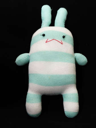 sock puppet: Rabbit knitting doll from sock and synthetic fiber