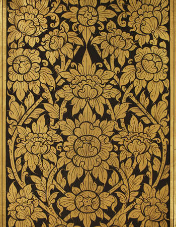 Gold damask pattern on temple's wall  Banque d'images