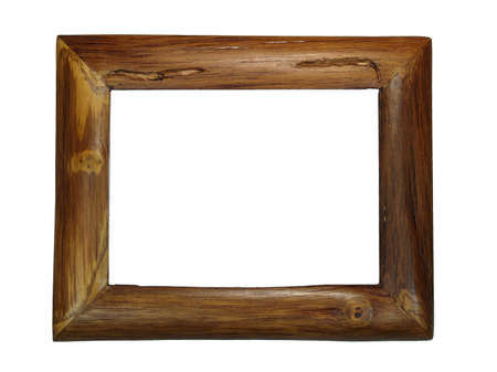 Dicut of teak wood handmade photo frame on white background