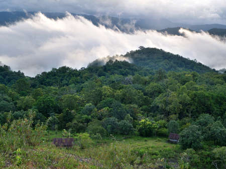 Beautiful morning view of rural life from top of mountain at national park, Thailand   Banco de Imagens
