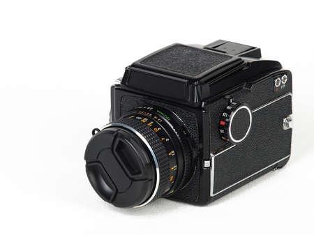 Medium format camera isolated on white background photo