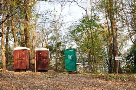 Mobile public toilets in forest at Phukradueng National Park, Loei, Thailand  Stock Photo - 18648273