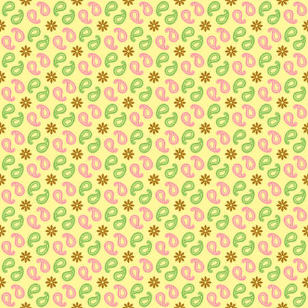 Vintage wallpaper with Pink green and brown flower on yellow background. photo