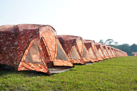 Camouflage tents arrange in a row for tourist at Phukradueng National Park, Loei, Thailand