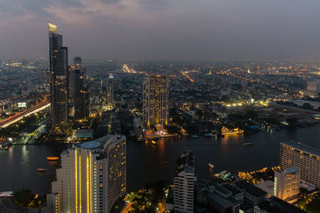 Bangkok city nightlife scene from 56th floor of hotel  photo