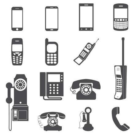 Evolution of telephone icon set