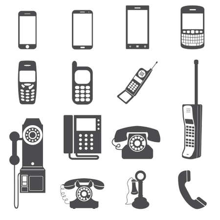 Evolution of telephone icon set
