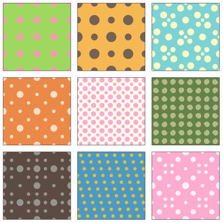 9 Seamless polka dot wallpaper pattern  Vector