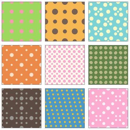9 Seamless polka dot wallpaper pattern  Vector