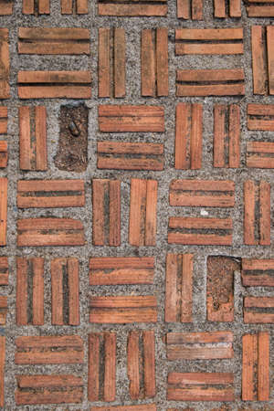 Texture of red brick pavement.