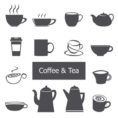 Cup of coffee and tea icon set. Vector