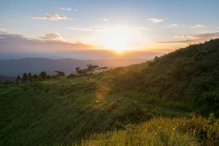 Sunset scene at Phu Chi fa mountain ,chiang rai , Thailand.