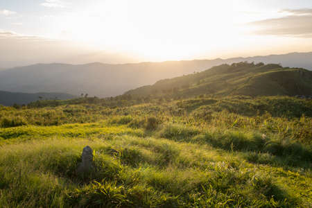 Sunset scene at Phu Chi fa mountain ,chiang rai , Thailand.