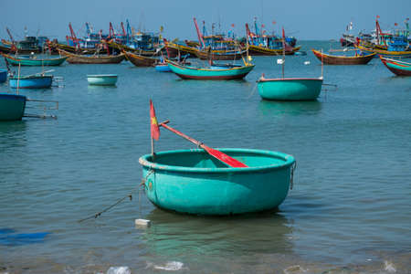 Basket boats, traditional Vietnamese boat at fisherman village, Mui Ne, Vietnam.