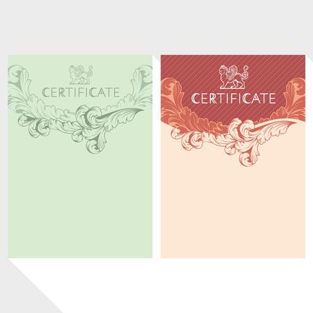 certificate template: Certificate design template in baroque style