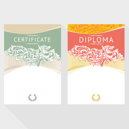 attestation: Diploma design template in baroque style Illustration