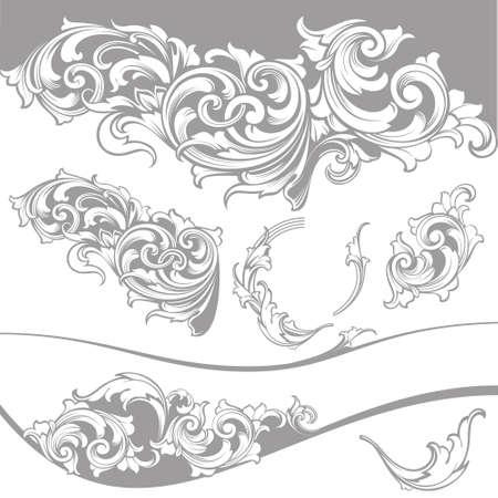 attestation: Set: Baroque Design Elements and Page Decoration, Vintage collection Illustration
