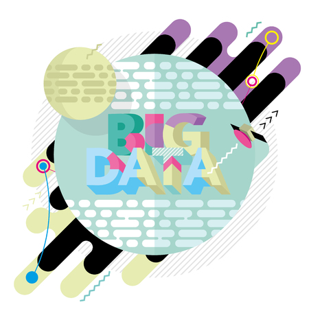 Abstract colored modern geometric background on the topic of big data Illustration