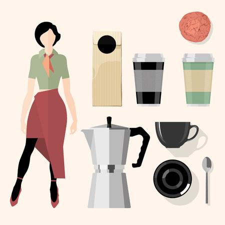 Coffee. Kitchen, bar, restaurant design elements. Illustration