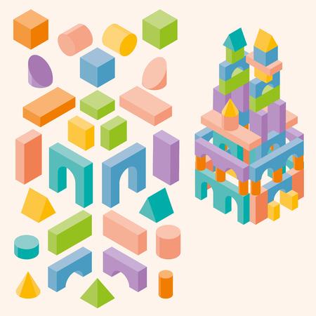 Farbige Bausteine ??für Kinder. Set. Isometrischen 3D-Darstellung