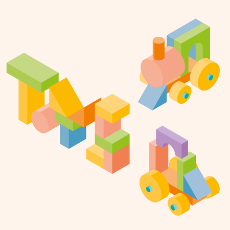 cylinder block: Colored building blocks for children. set. 3d Isometric illustration