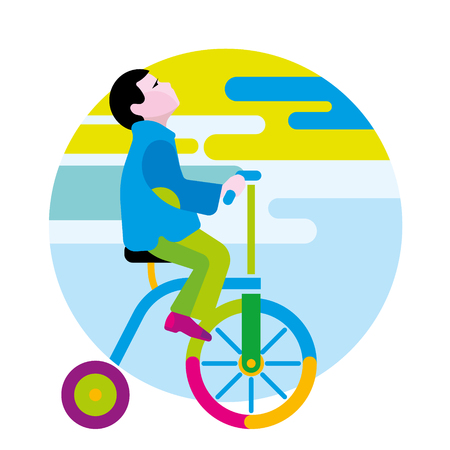 children's story: Boy on a winged bicycle. Autumn Illustration