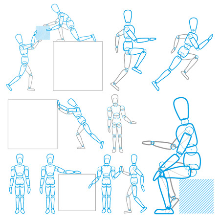 the stands: A character in action, stands, runs, sits, lifts and moves the goods Illustration