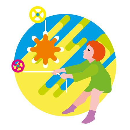 children's story: Girl raises the sun. Spring Illustration