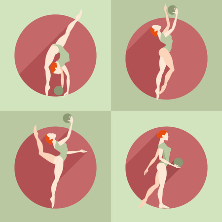 goodliness: Fitness. Girl doing exercises with a ball Illustration