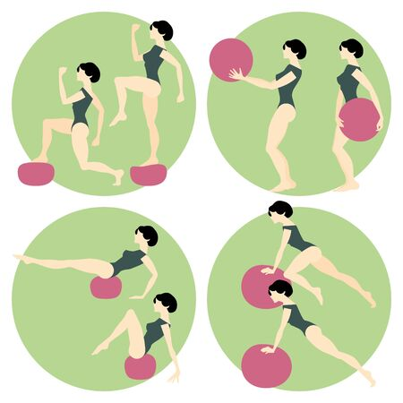 goodliness: Fitness. Girl doing exercises with a medicine ball