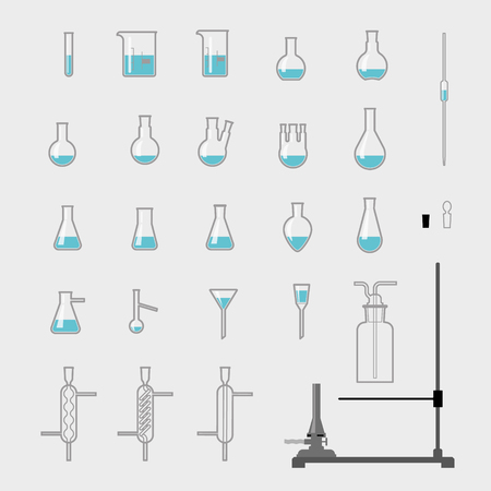 condenser: set of chemistry laboratory glassware