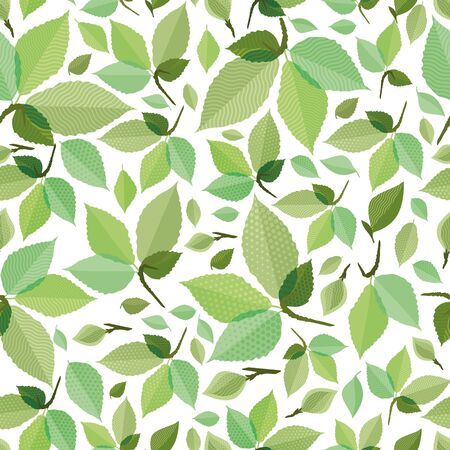 crocket: Seamless green foliage without gradient for printing Illustration