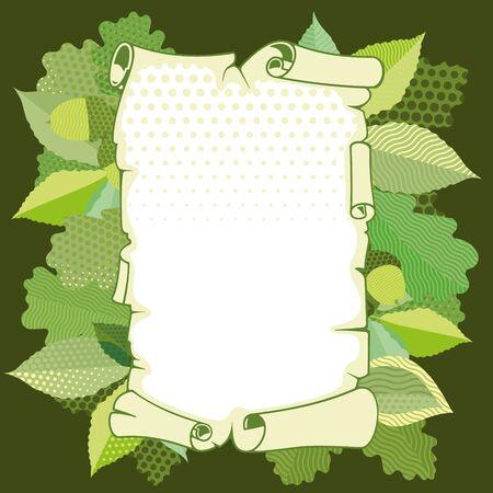 crocket: Scroll old paper in a frame of leaves Illustration