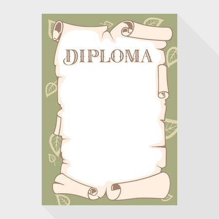 attestation: Blank diploma as a roll of old paper