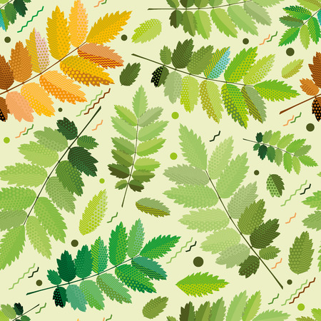 crocket: Seamless green leaves pattern, green foliage without gradient for printing Illustration