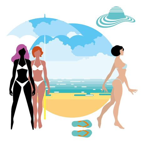 tanned girl: Tanned girl in a swimsuit on the beach in summer Illustration