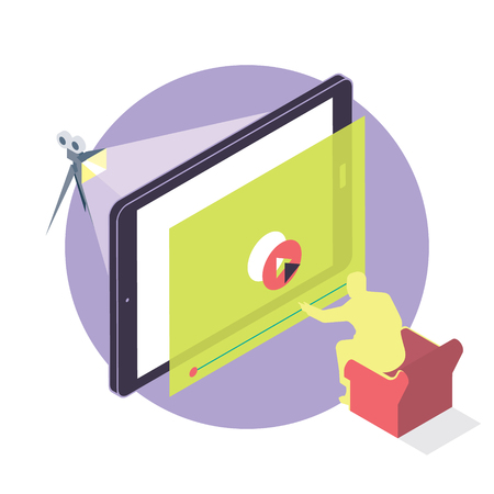 cinematograph: On-line cinema man watching a movie on a mobile device