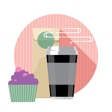 steward: Coffee cup. Coffee cup isolated on background. Paper coffee cup. Coffee cup in flat style, coffee machine and cake Illustration