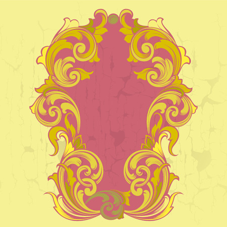 crackle: Old vintage gold frame in baroque style with crackle
