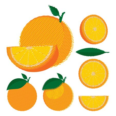 halved: Set of whole and halved oranges with leaves, flat illustration