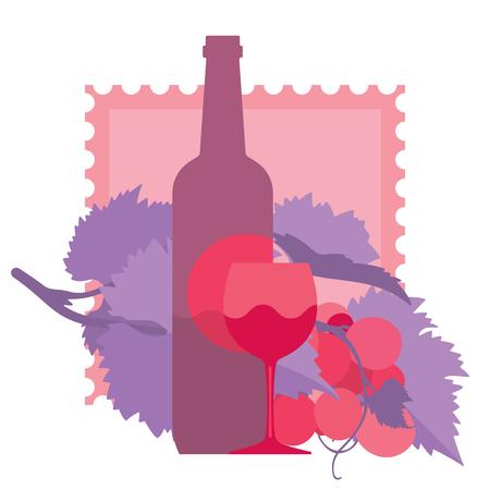 red wine bottle: Glass of red wine, bottle, grapes, ornamental, flat illustration