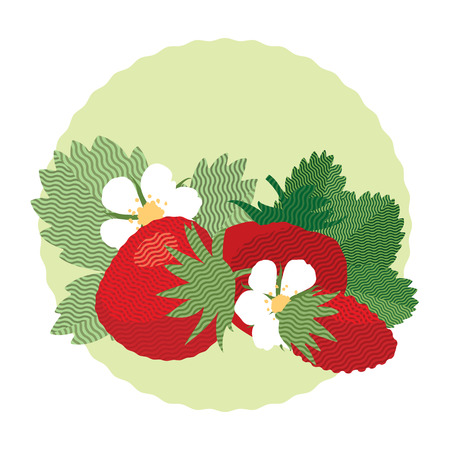 summer diet: Set of berries and leaves of wild strawberry, flat illustration Illustration