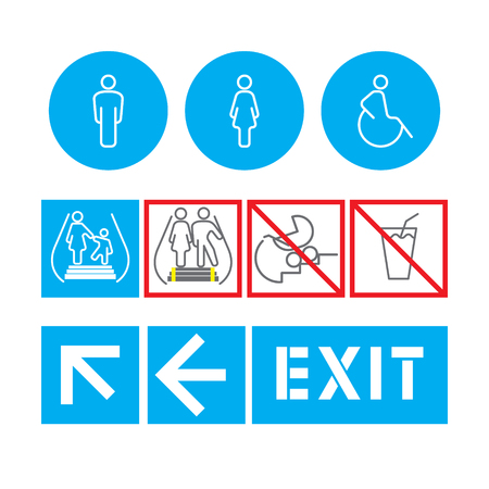 behavior: silhouette man and women public places access, the rules of behavior on the escalator